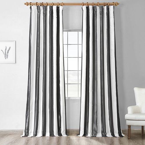 EFF 1-Panel Stripe Faux-Silk Taffeta Window Curtain