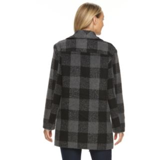 Women's d.e.t.a.i.l.s Plaid Shawl Collar Wool Blend Coat