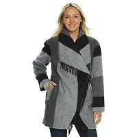 Women's d.e.t.a.i.l.s Plaid Shawl Collar Wool Blend Coat