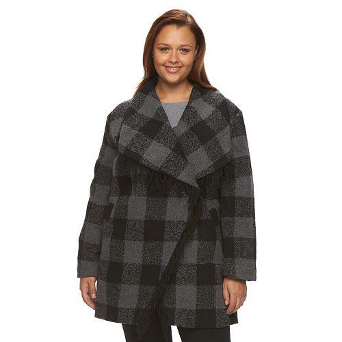 afaf865b524fb Plus Size d.e.t.a.i.l.s Plaid Shawl Collar Wool Blend Coat