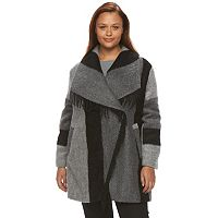 Plus Size d.e.t.a.i.l.s Plaid Shawl Collar Wool Blend Coat