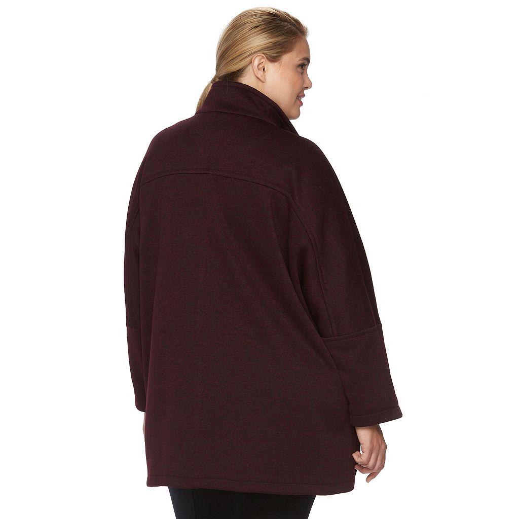 Plus Size d.e.t.a.i.l.s Sweater Fleece Poncho Jacket