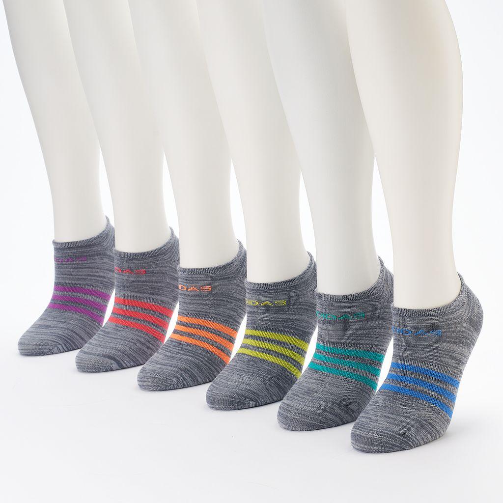 Women's adidas 6-pk. Striped Neon No-Show Socks