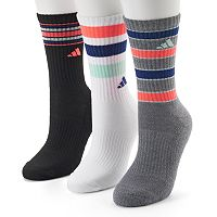Women's adidas 3-pk. Striped Cushioned Crew Socks