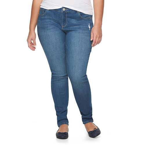 Juniors' Plus Size SO® Embroidered Denim Skinny Jeans
