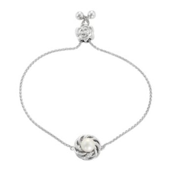 Simply Vera Vera Wang Sterling Silver Freshwater Cultured Pearl & Diamond Accent Flower Bolo Bracelet