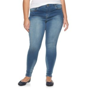 Juniors' Plus Size Mudd® High-Waisted Sateen Denim Jeggings