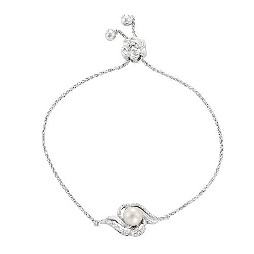 Simply Vera Vera Wang Sterling Silver Freshwater Cultured Pearl & Diamond Accent Bolo Bracelet