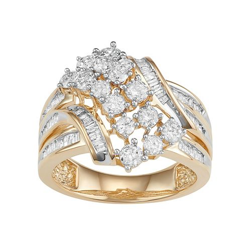10k Gold 1 1/2 Carat T.W. Diamond Twist Multi Row Ring