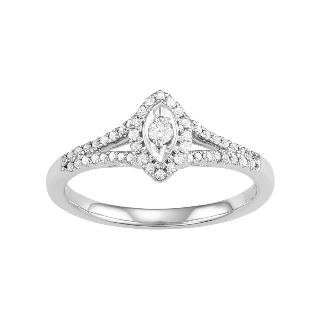10k White Gold 1/4 Carat T.W. Diamond Marquise Engagement Ring