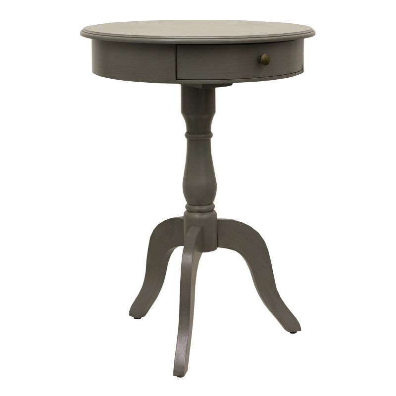 Decor Therapy Eased Edge 1-Drawer Pedestal End Table, Grey