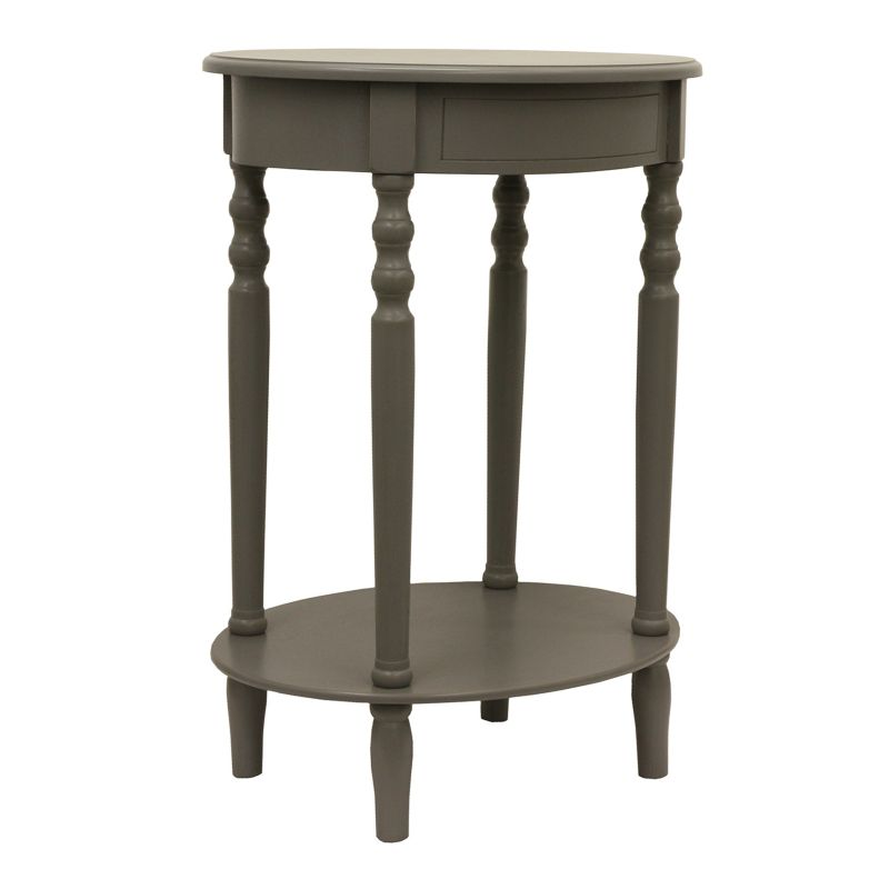 Decor Therapy Eased Edge Oval End Table, Grey