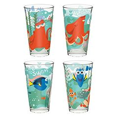 Disney / Pixar Finding Dory 4 pc 16-oz. Glass Tumbler Set by Zak Designs