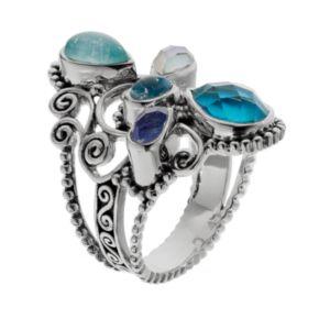 Sterling Silver Simulated Quartz Filigree Ring