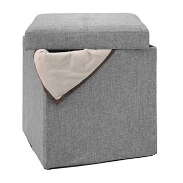 Simplify Linen Look Single Folding Ottoman