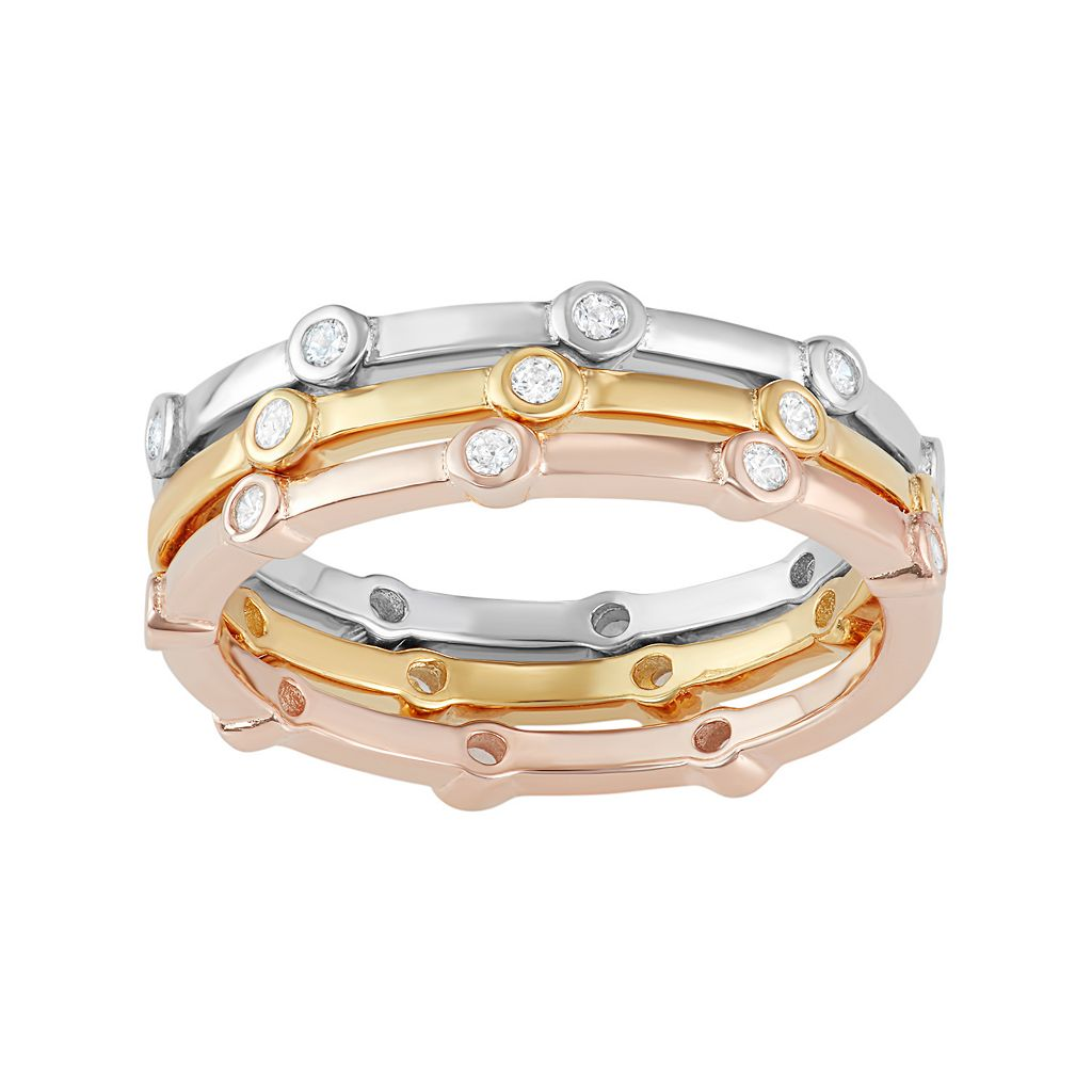 Tri-Tone Sterling Silver Cubic Zirconia Stack Ring Set