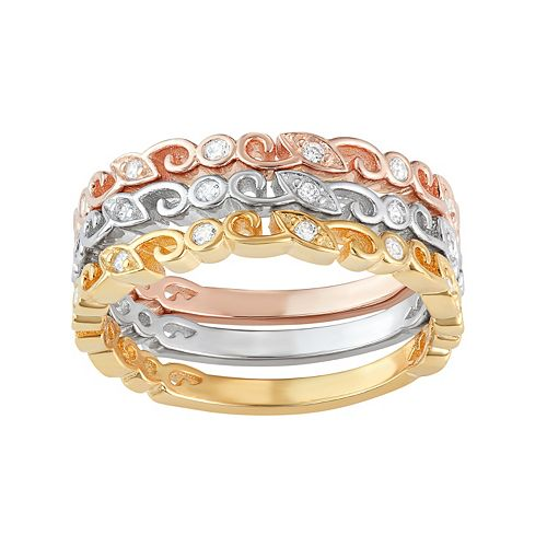 Tri-Tone Sterling Silver Cubic Zirconia Scroll Stack Ring Set