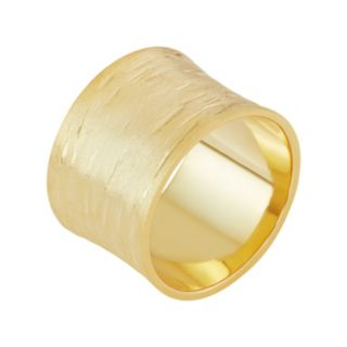 18k Gold Over Silver Textured Cigar Band Ring