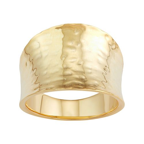 18k Gold Over Silver Hammered Cigar Band Ring