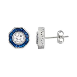 Sterling Silver Cubic Zirconia & Lab-Created Blue Spinel Halo Stud Earrings