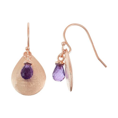18k Rose Gold Over Silver Amethyst Briolette Teardrop Earrings
