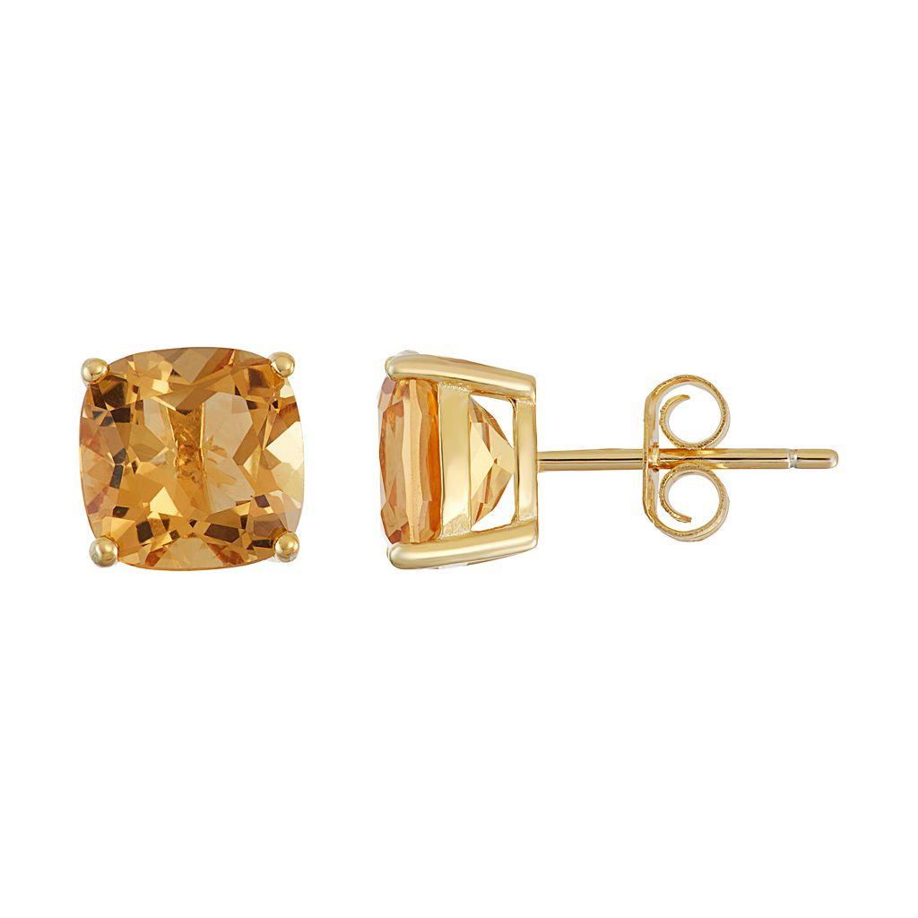 18k Gold Over Silver Citrine Stud Earrings