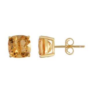18k Gold Over Silver Citrine Stud Earrings