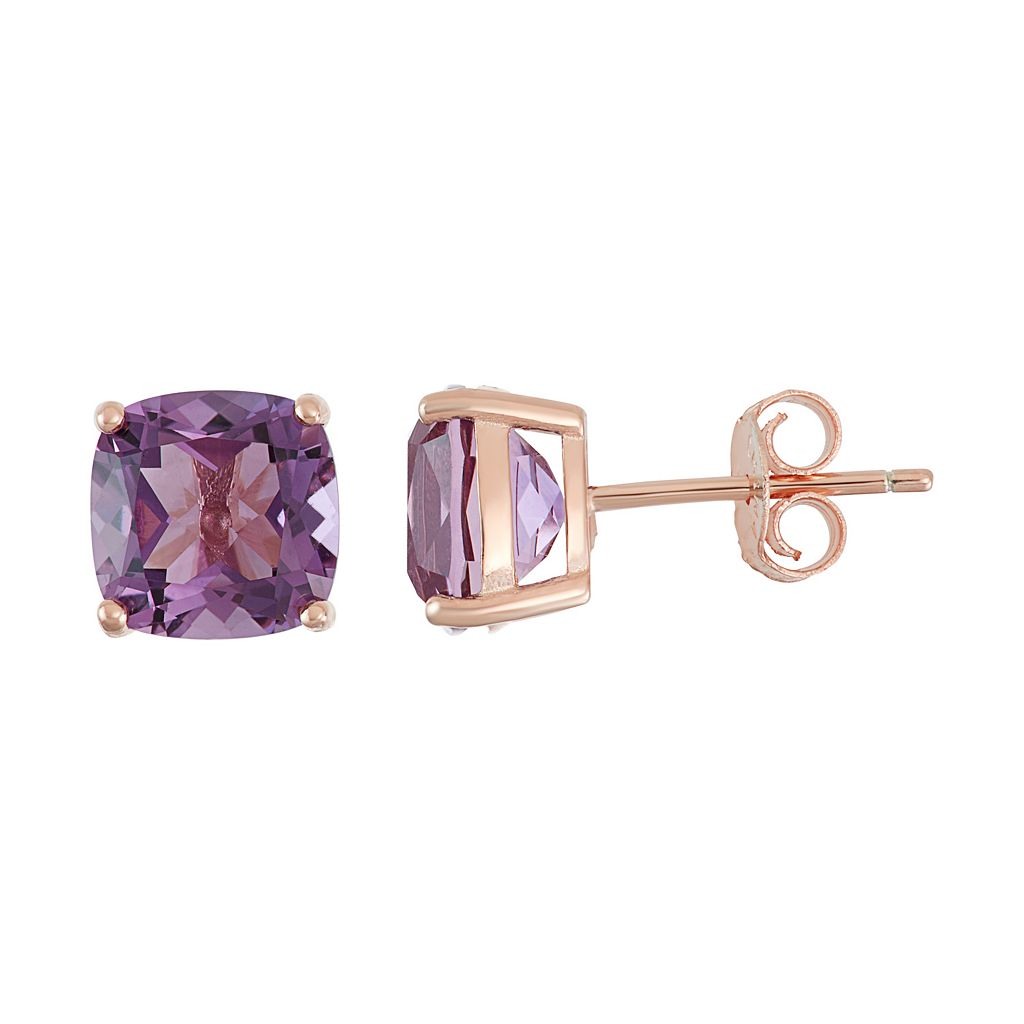 18k Rose Gold Over Silver Amethyst Stud Earrings