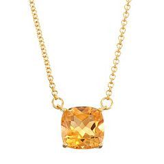 18k Gold Over Silver Citrine Necklace