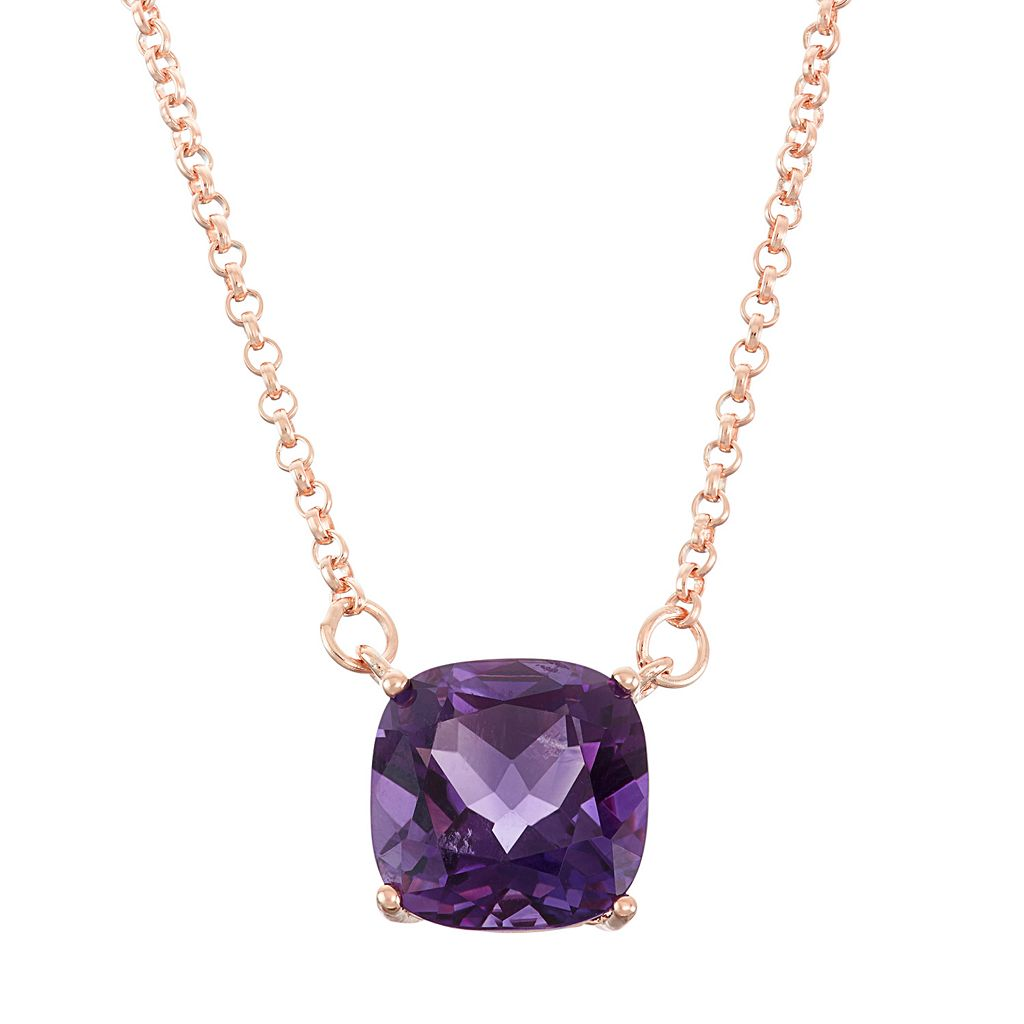 18k Rose Gold Over Silver Amethyst Necklace