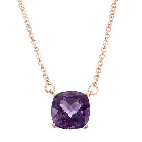 18k Rose Gold Over Silver Amethyst Necklace