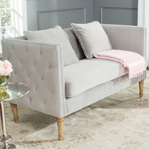 Safavieh Sarah Tufted Gray Settee Loveseat