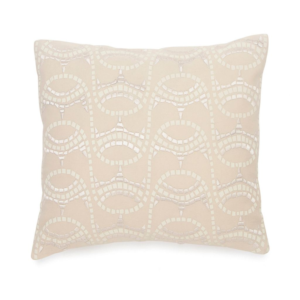 BiniChic Terracotta Embroidered Mosaic Throw Pillow