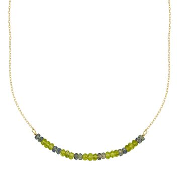 14k Gold Peridot & Green Sapphire Beaded Necklace