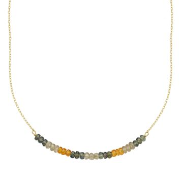 14k Gold Gemstone Beaded Necklace