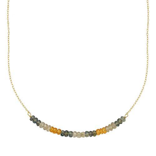 14k Gold Gemstone Beaded Necklace