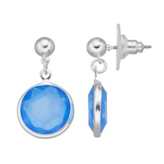 Blue Faceted Circle Drop Earrings
