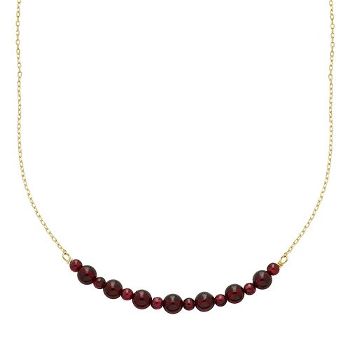 14k Gold Garnet Beaded Necklace