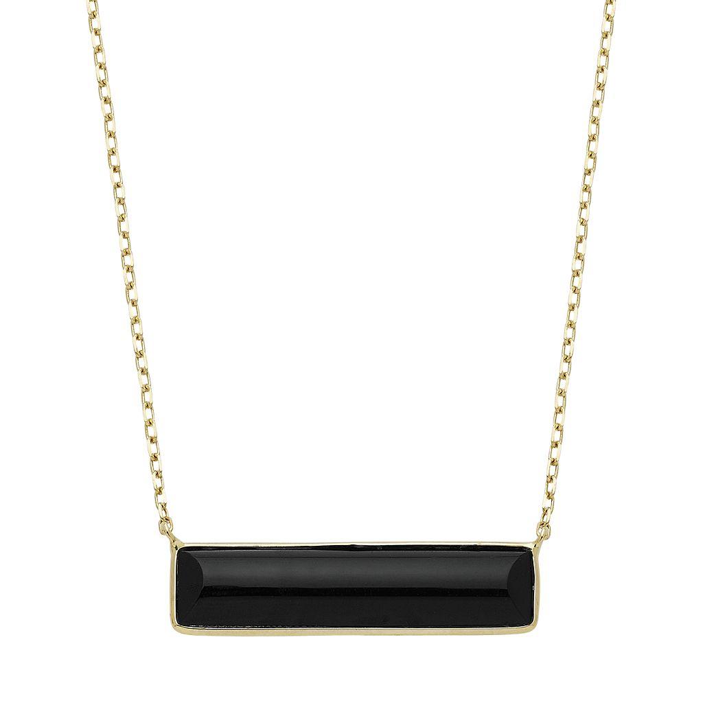 14k Gold Onyx 26 mm Bar Necklace