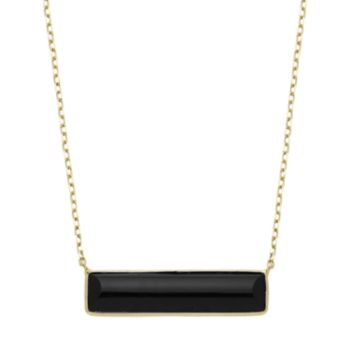 14k Gold Onyx 26 mm Bar Necklace