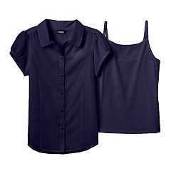 Girls 7-16 Chaps School Uniform Blouse & Camisole Set