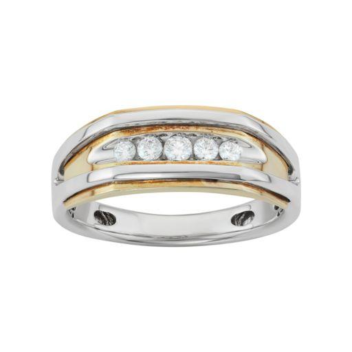 Men's Two Tone 14k Gold 1/4 Carat T.W. Diamond Wedding Band