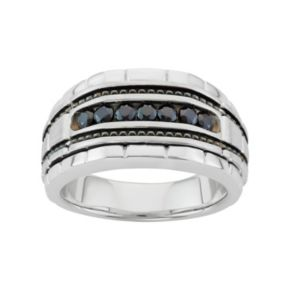 Men's 10k White Gold Black Spinel Ring