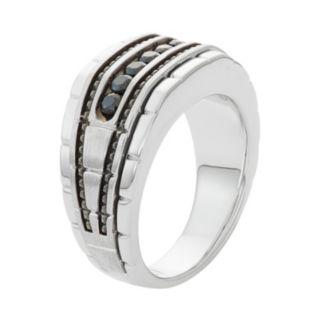 Men's 10k White Gold Black Spinel Ring