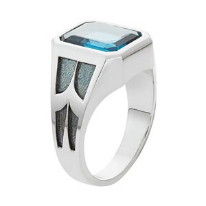Men's Two Tone Sterling Silver Lab-Created Blue Topaz Ring