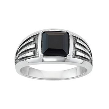 Men's Two Tone Sterling Silver Square Onyx Ring