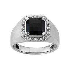 Men's Sterling Silver  Onyx & 1/8 Carat T. W. Diamond Halo Ring