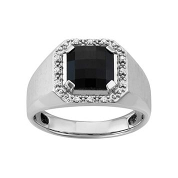 Men's Sterling Silver Onyx & 1/8 Carat T. W. Diamond Halo Ring