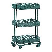 Linon Floral Metal Mobile Cart
