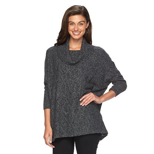 5c12672920d Women s AB Studio Cowlneck Poncho Sweater